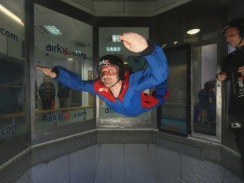 Brian skydiving (or flying) in an air tunnel at AirKix in England