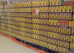 Pallets of chocolate Cadbury eggs