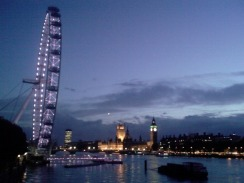 The London Eye and Big Ben at dusk