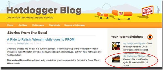 Milo on the Wienermobile site