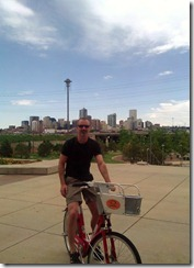 Brian on a rental bike in Denver