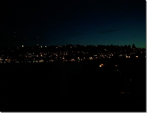 Sliver of moon over Queen Anne hill