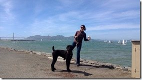 Busby and Lorie by San Francisco Bay and the Golden Gate Bridge
