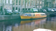 Working boat - delivering packages