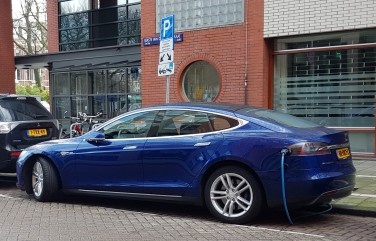 Electric car parked